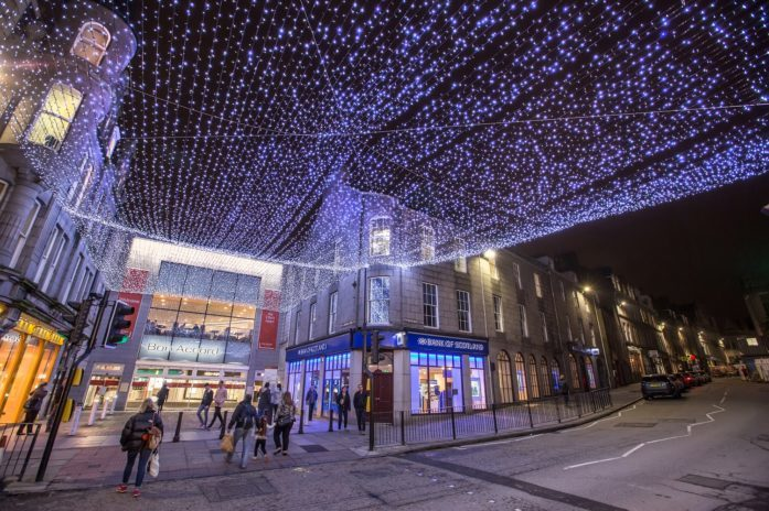 The lights display outside the Bon Accord Centre