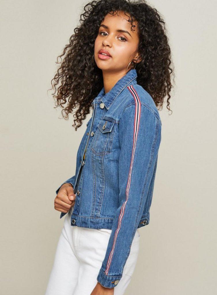 Side striped denim jacket