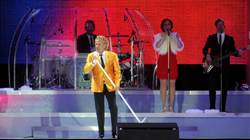 Rod Stewart during his last gig in Aberdeen in 2011